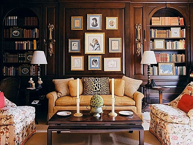 Living Room Traditional Classic Style Decor  Book Shelves Study Eclectic Home Decor Ideas Wood Paneling Art Prints Framed Wall Display  | Seagate Blog