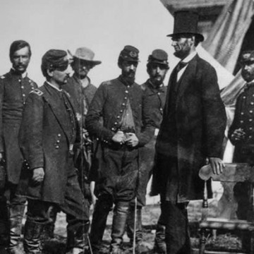 President Lincoln with troops