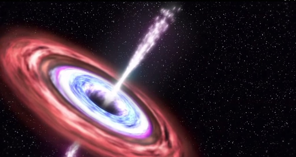NASA illustration: accretion disk around a black hole powering a particle jet