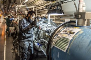 The Large Hadron Collider at CERN is undergoing an upgrade to enable it to utilize energies twixe as powerful as those used to reveal the Higgs boson