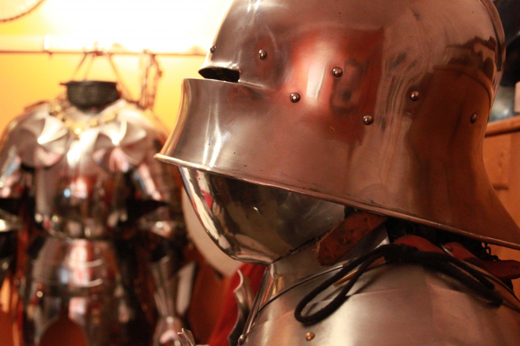 Alex Kay's hand-made armor stand ready for the reburial procession of King Richard III