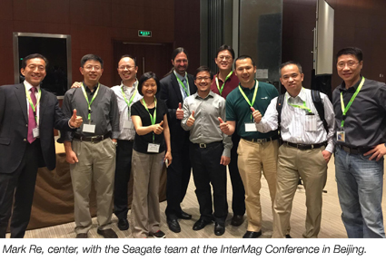 Seagate Demos HAMR - Mark Re (center) with Seagate team at InterMag Conference in Beijing