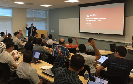 Ross Turk of Red Hat speaks to end users at Seagate in Cupertino