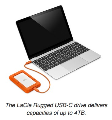 The LaCie Rugged USB-C drive delivers capacities of up to 4TB.