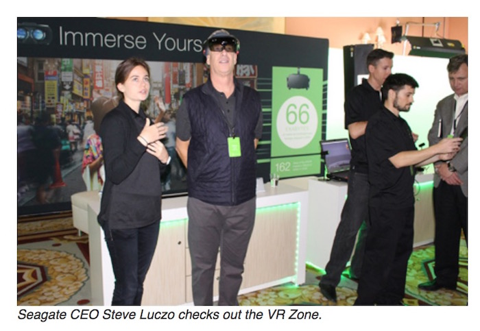 Seagate CEO Steve Luczo checks out the VR Zone at Seagate CES 2017