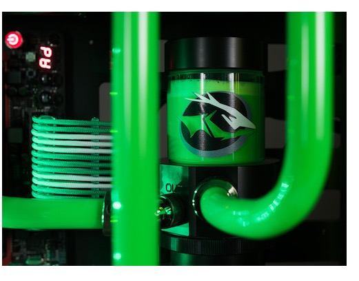 NCIX Guardian extreme gaming PC - coolant reservoir with FireCuda logo