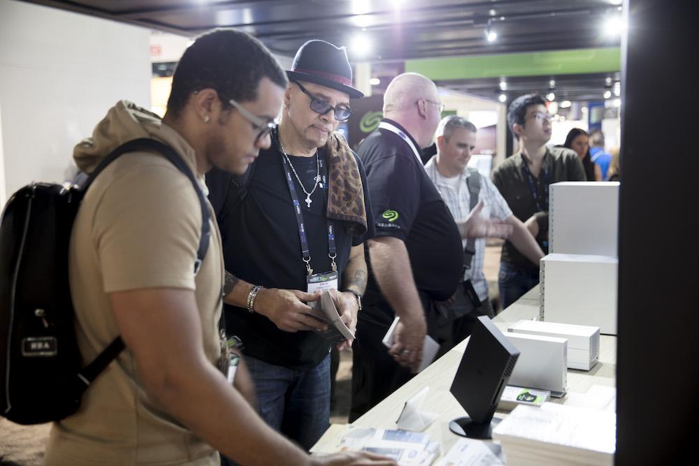 NAB showgoers examining the LaCie product portfolio