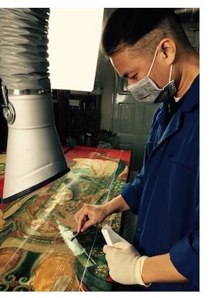 Leo Tsai art restoration in process