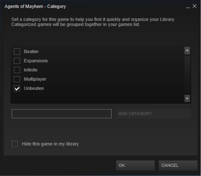 How to set up Categories in Steam