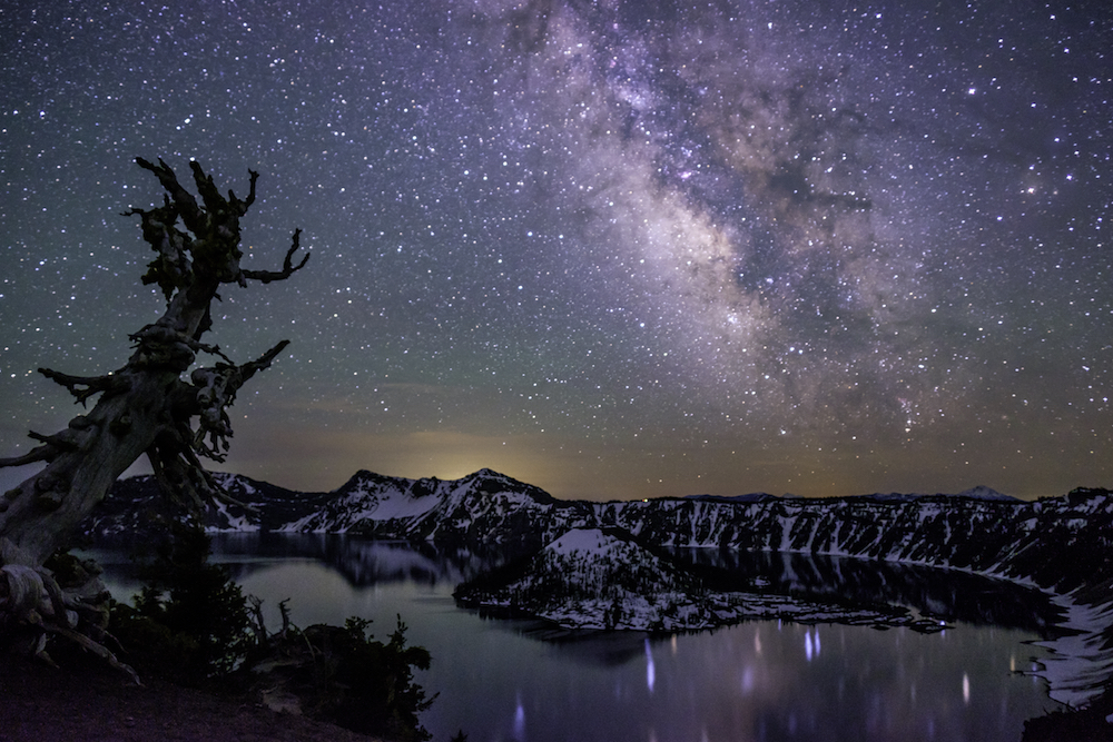 Jonathan Irish - Crater Lake NP - The Milky Way reflected in the crater lake.