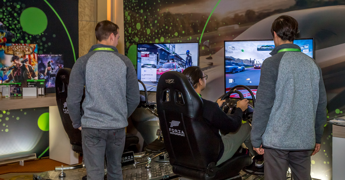 Trying out the new Forza Motorsport 7 at the Seagate Gaming Grand Prix at CES