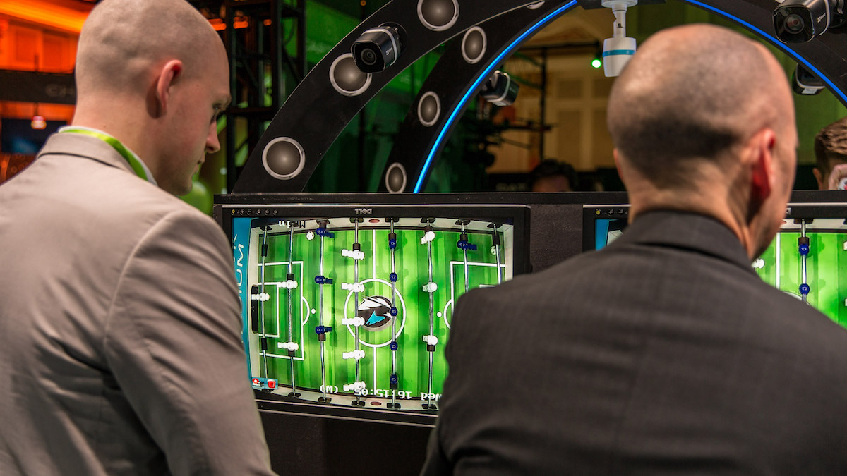 Visitors to Seagate's CES Experience Zone enjoy a fun version of foosball at our SkyHawk Stadium experience zone