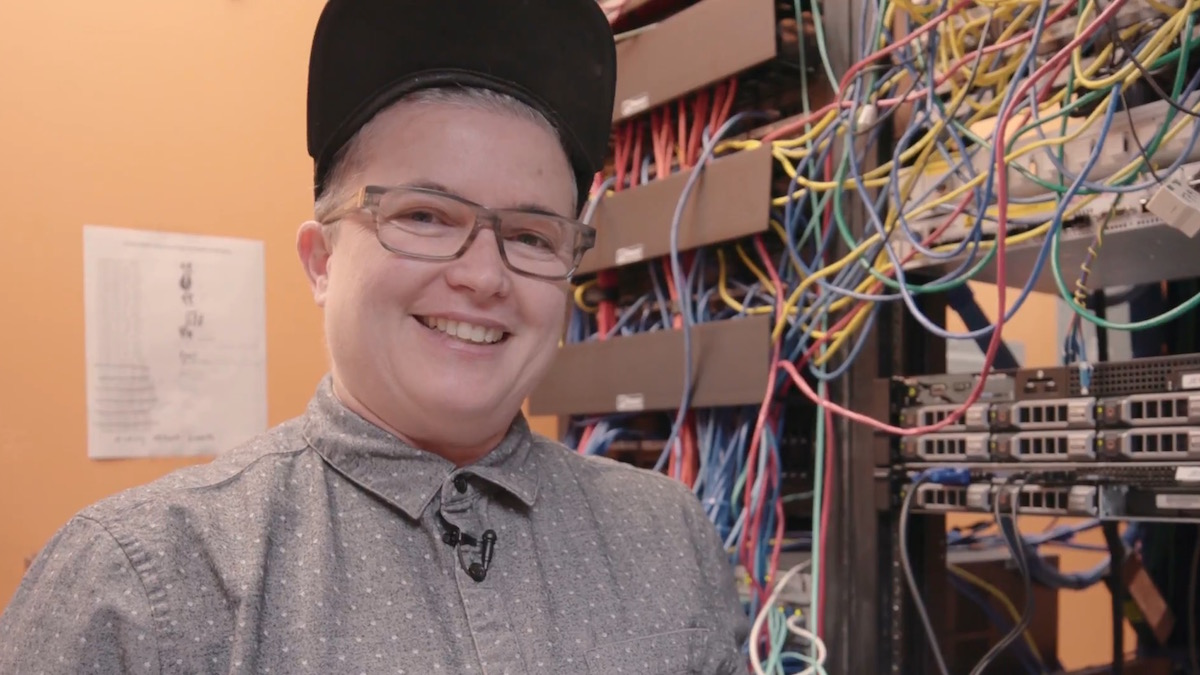Cari Campbell in the Youth Radio server room