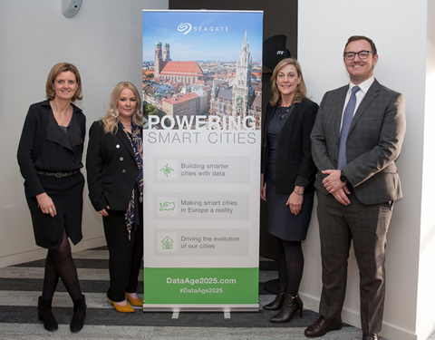 Event hosts Kate Scolnick, second from right, and Seagate's EMEA corporate communications team Valerie Labrune, Helen Farrier and Paul Bodley