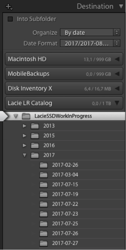 Pro tip: import your most recent photoshoots (on location or during a trip) in a Work-In-Progress folder on your External Catalog Disk. This way you always have your most recent originals with you!