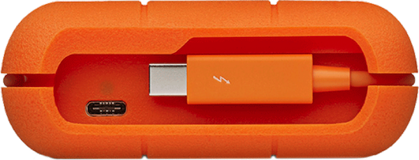 The LaCie Rugged series comes with Thunderbolt as well as with USB-C.