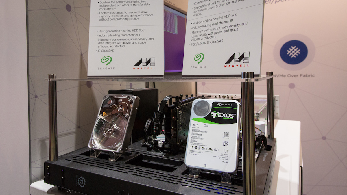 Seagate MACH.2 Multi Actuator technology sample and Seagate Exos X14 at Marvell booth OCP 2018