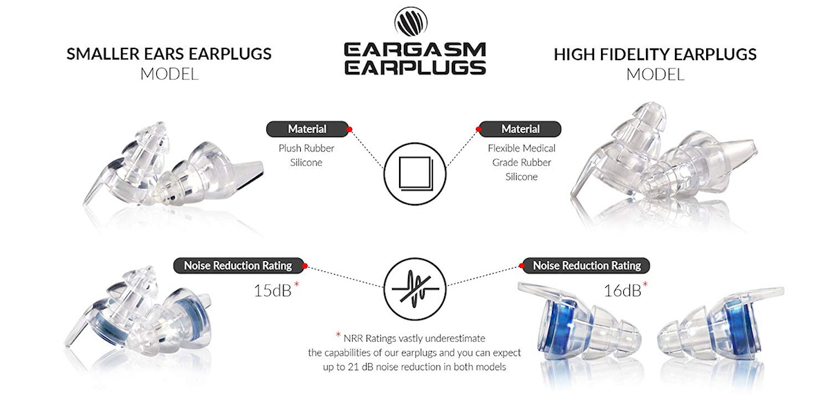 Eargasm high fidelity earplugs types
