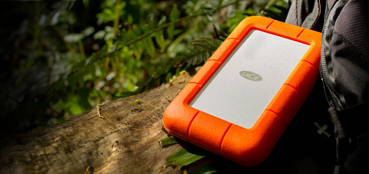 LaCie Rugged hard drive in the field