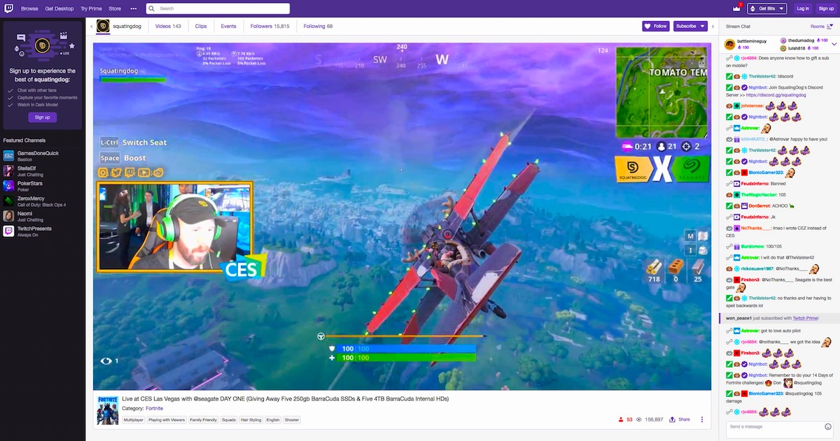 squatingdog Fortnite Twitch streaming Live from Seagate Experience Zone at CES 2019