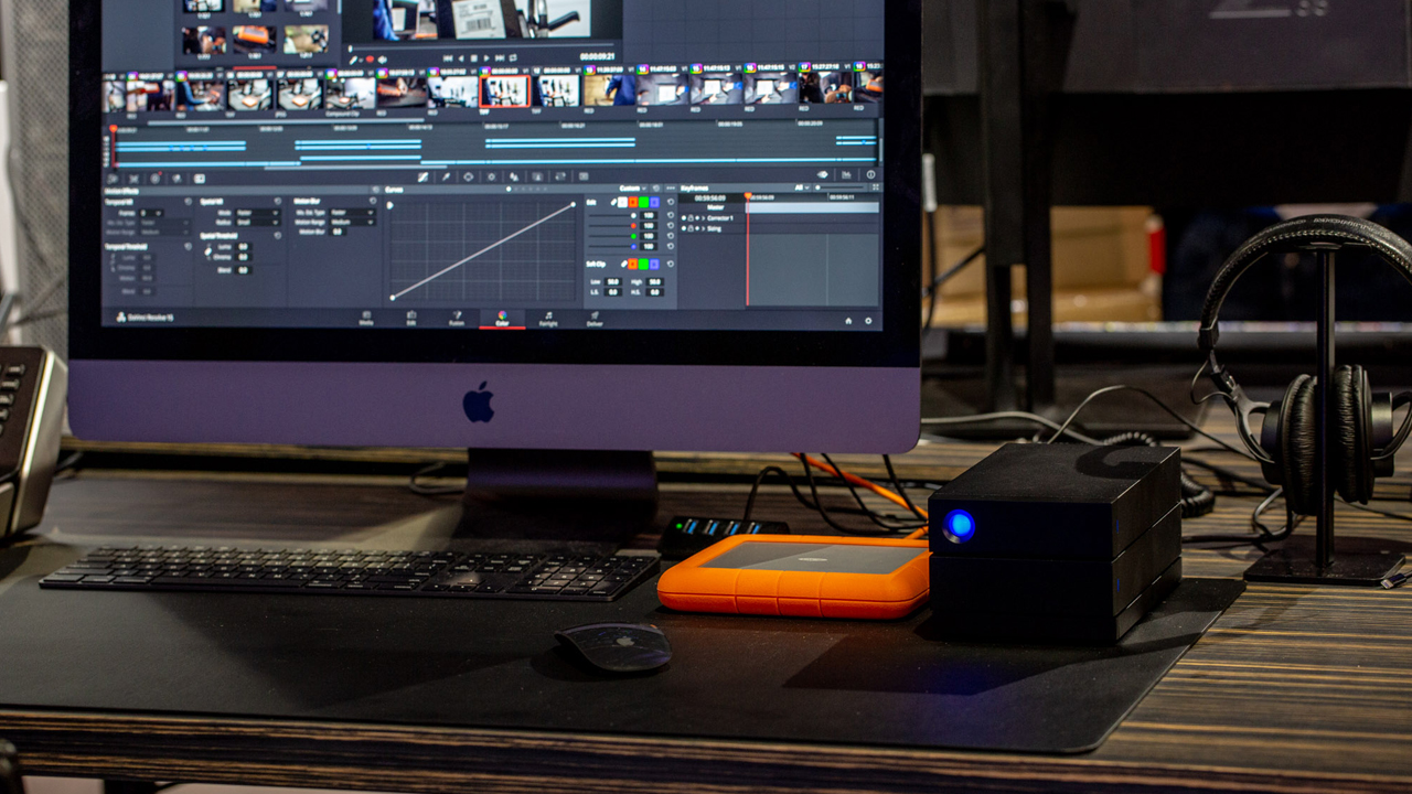 LaCie Rugged RAID Shuttle and LaCie 2big on workstation desk